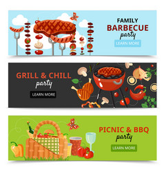 Family bbq party banners vector