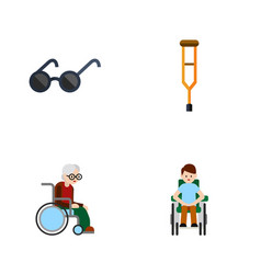 Flat icon cripple set of stand wheelchair vector