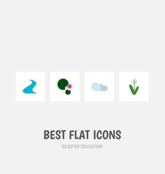 Flat icon ecology set of lotus floral overcast vector
