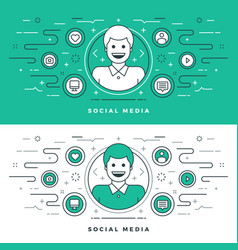 Flat line social media and network concept vector