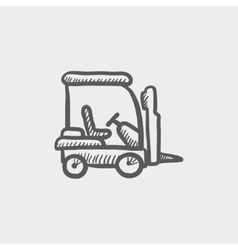Golf cart sketch icon vector image