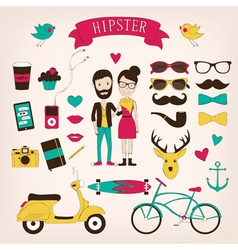 Hipster set icons vector image vector image