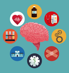Human brain care medicine health vector