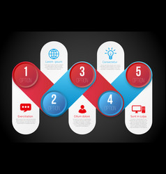 Infographics with 5 steps or options blue and red vector