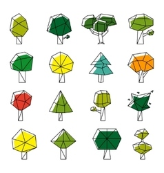 Line art polygonal trees icons vector