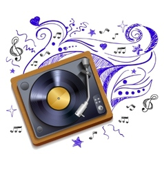 Music doodle vinyl record player vector