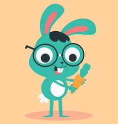 Nerd Bunny Holding a Carrot vector image vector image
