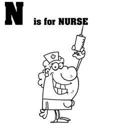 Nurse cartoon with letter vector image vector image