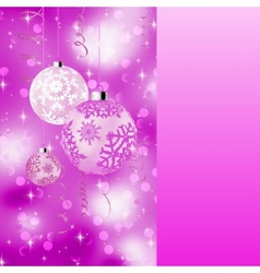 Pink card with christmas balls eps 8 vector