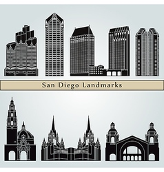 San diego landmarks and monuments vector