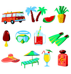 summer vacations cartoon icons set vector image