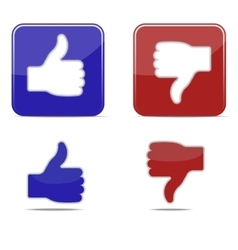 Thumbs up and thumbs down symbol icons vector