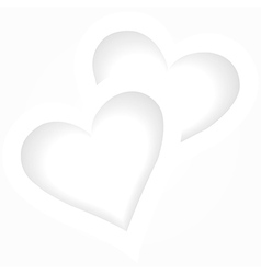Two white hearts romantic background vector image