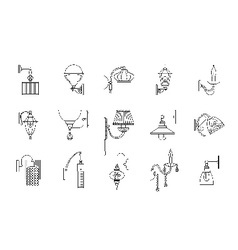 Wall lamps line icons set vector image vector image