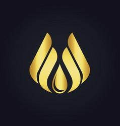 Water drop eco wing abstract gold logo vector