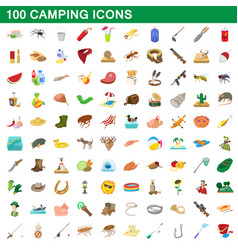 100 camping icons set cartoon style vector image