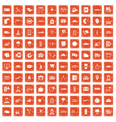 100 dispatcher icons set grunge orange vector