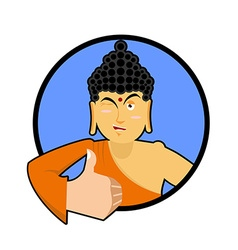 Buddha shows well thumbs up and winks indian god vector