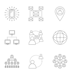 Internet connection icons set outline style vector