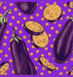 Seamless pattern with eggplant sketch vector