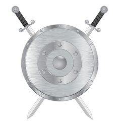 Swords and shield metal brushed medieval shield vector