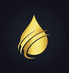 Water drop ecology health gold logo vector