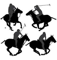 Polo player silhouette vector