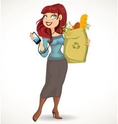 Woman with the health food package and phone on vector