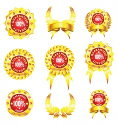 set of golden badges on white background vector image