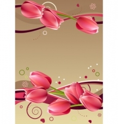 Frame with hearts and tulips vector