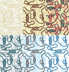 Set of patterns with marine ropes vector