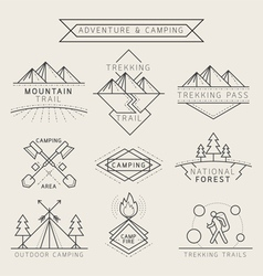 Camping label and badge linear style vector