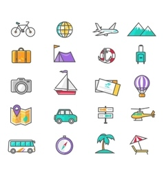 Set thin lines icons of traveling vector