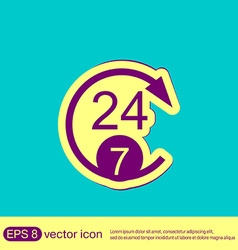 24 7 character 247 open 24 hours a day and 7 vector