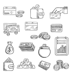 Finance business and money icons sketches vector