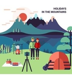 Camping in mountains vector