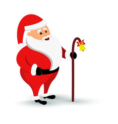 christmas smiling santa claus character is coming vector image vector image