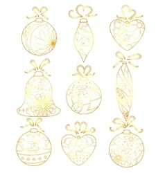 Christmas toys set golden isolated vector image vector image