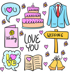 Collection of wedding stock in doodles vector