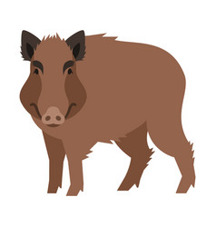 Cute smiling wild boar cartoon vector
