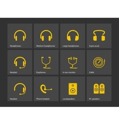 Earphones icons vector image