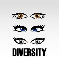 Eyes of women showing diversity vector