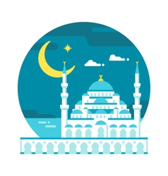Flat design blue mosque Ramadan vector image