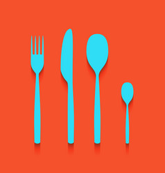 Fork spoon and knife sign whitish icon on vector