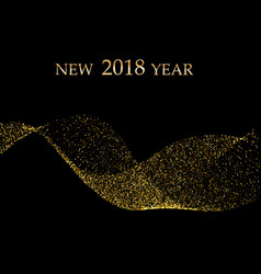 gold metallic wave glitter of confetti on a black vector image vector image