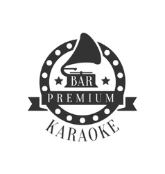 Gramophone in round frame karaoke premium quality vector