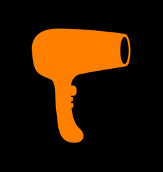 Hair dryer sign orange icon on black background vector