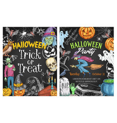 halloween holiday horror poster on chalkboard vector image vector image