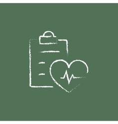 Heartbeat record icon drawn in chalk vector