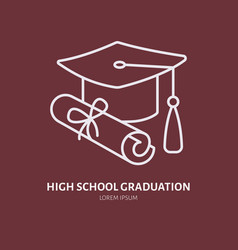 High school graduation line icon linear vector